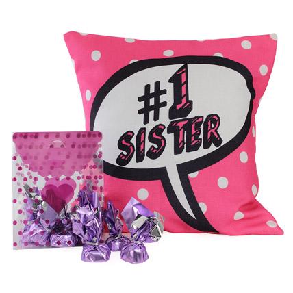 Sister Cushion With Chocolates