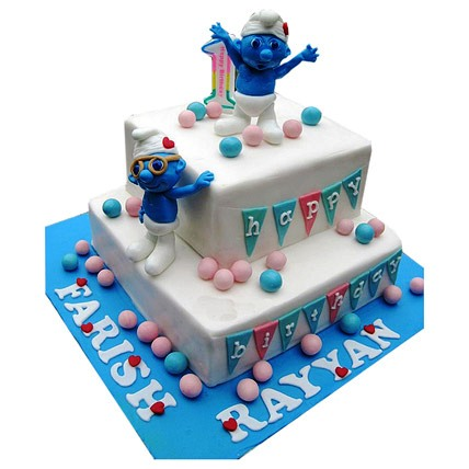 Smurfs Birthday Cake 4kg Eggless