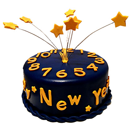 Starry New Year Cake 2kg Eggless