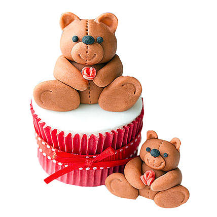 Teddy Love Cupcakes 12 Eggless