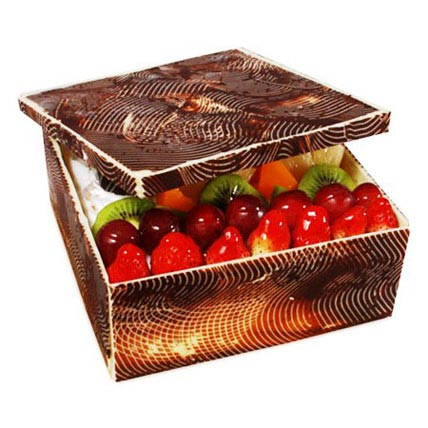 The Exotic Fruits Box Shape Cake 2kg Eggless