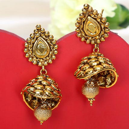 The Traditional Golden Jhumkas