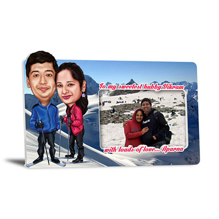 To My Sweetest Hubby 3D Couple Caricature Frame