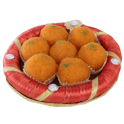 Tray Full Of Kesariya Motichoor Ladoo