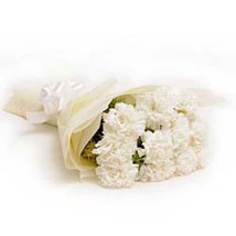 12 White Carnations: Sympathy N Funeral
