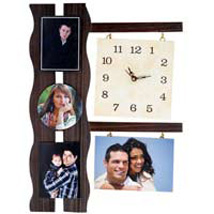 4 Photo Wooden Wall Clock: New Year Gifts