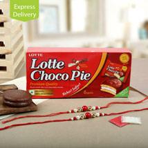 Choco Pie With Two Rakhis: Send Rakhi to Chandigarh