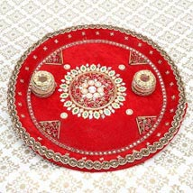Divinity of the Red: Karwa Chauth Pooja Thali to Faridabad
