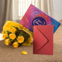 Flower Hamper N Greeting Card: Flowers for Rakhi