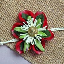 Fresh Red Floral Rakhi: Flower Rakhi