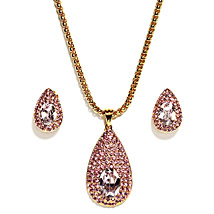 Golden Peacock Gold Plated Pink Jewelry Set: Karwa Chauth Gifts for Bahu