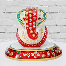 Marble Ganesha On A Chowki: Send Mothers Day to Gandhinagar