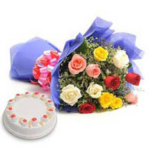Mix Love - Bunch of 12 Mix colour roses with 500gm Pineapple Cake.