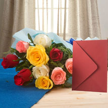 Mix Roses N Greeting Card: Gifts for Dussehra