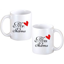 Mr and Mrs Couple Mugs: Send Personalised Mugs for Wife