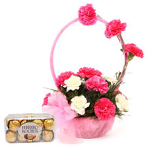 Pink N White Basket Of Flavours: Flowers & Chocolates - Friendship Day