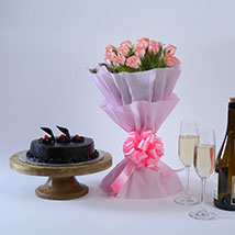 Pink Roses with Cake: Send Mothers Day to Aurangabad