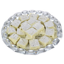 Pista Burfi In Silver Tray: Sweets for Anniversary