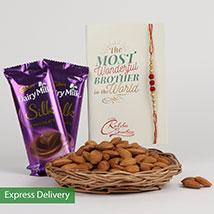 Rakhi Choco And Almonds: Rakhi with Chocolates
