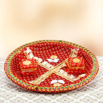 Red Devotion: Bhaidooj Pooja Thali Hyderabad