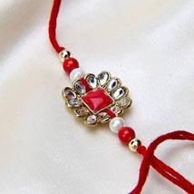 Red Radiant Beauty: Kundan Rakhi