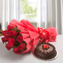 Red Rose with Cake: Flowers to Raipur
