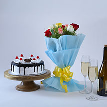 Roses and Black Forest Cake: Mothers Day Gifts Gandhinagar