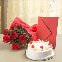 Roses N Cake Hamper: Flowers & Cards - Karwa Chauth