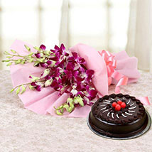 Something Special For You - Bunch of 6 Purple Orchids with 500gm Chocolate Truffle Cake.