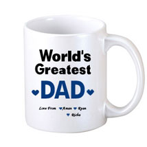 White Personalised Coffee Mug: Fathers Day Personalised Mugs