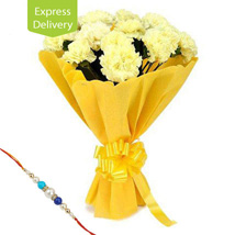 Yellow Carnations And Rakhi: Rakhi to Jalna