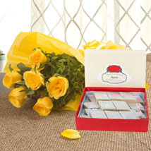 Yellow Roses N Kaju Katli: Flowers & Sweets for Diwali