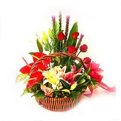 Arrangement of mixed seasonal flowers
