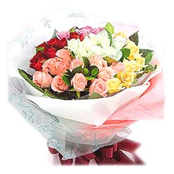 Bouquet of 36 Mixed Colours Roses MAL