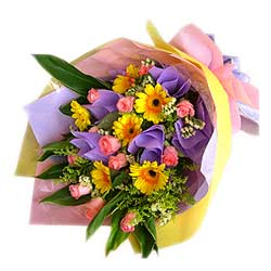 Bouquet of Yellow Gerberas n Pink Roses MAL
