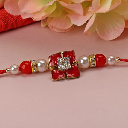 Red Stone with Pearl Rakhi NETH
