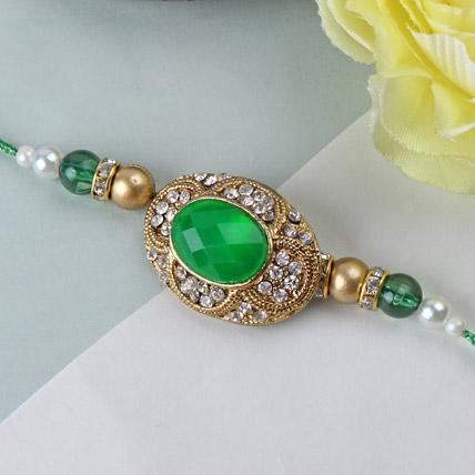 Green Emerald Stone Rakhi TAI