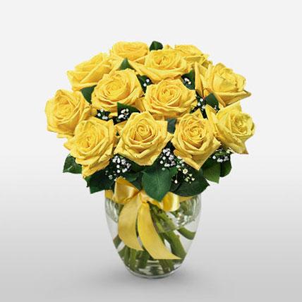 12 Long Stem Yellow Roses