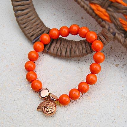 Alluring Orange Beaded Rakhi