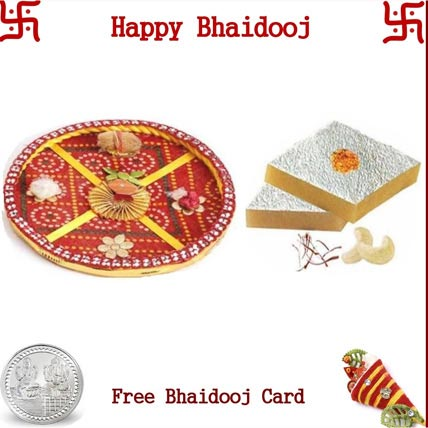Bhai Dooj Thali with 2 LB Kaju Katli and Free Silver Coin