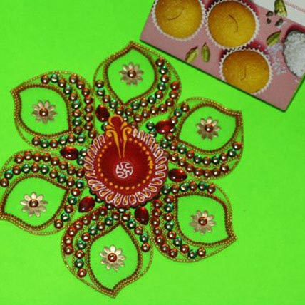 Rangoli with Motichoor Laddu