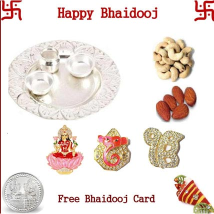 Silver thali with 50 grams Dryfruits and Three Idols