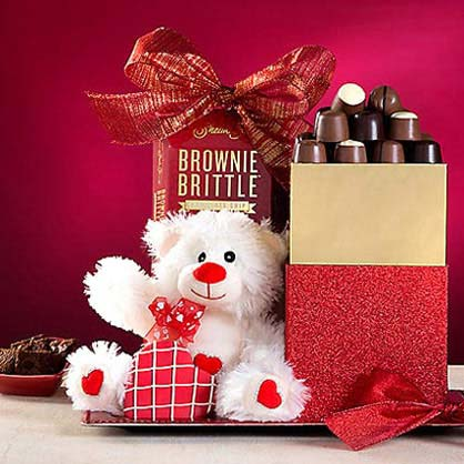 Valentine Teddy Bear and Sweets