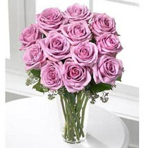12 Long Stem Lavender Roses: Send Love & Romance Flowers to USA