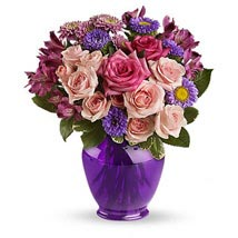 Purple Medley Bouquet with Roses: Flowers to Plano